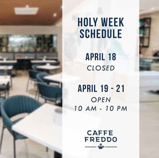 caffefreddoph 2019 holy week schedule